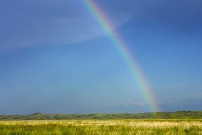 rainbow in south dakota rural scenery