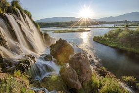 mountain snake river waterfall sunny landscape