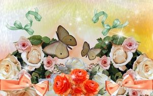 painted bouquets of roses and brown butterflies