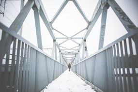 Metal bridge peaceful winter person silhouette