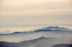 mountains in misty haze