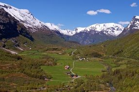 valley, mountains, snow-capped peaks in Norway