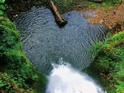 top view of a waterfall in a forest