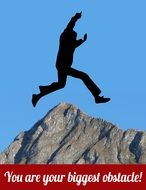silhouette man jumping mountain top