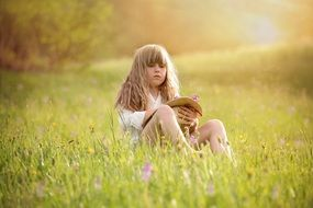 girl with long golden hair sits on a meadow