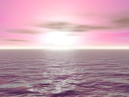 Pink sunset on the ocean
