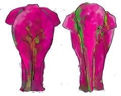 painted two pink elephants