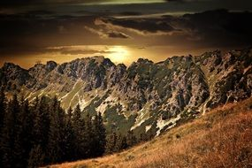 gorgeous sunset landscape, alpine mountains at fall, austria, alm