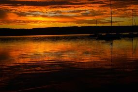 fiery sunrise over lake Ammersee