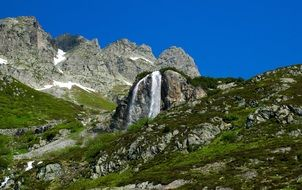 waterfall in alpine mountains