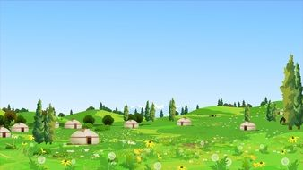 mountain village landscape cartoon