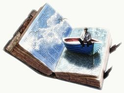 Photoshop picture of a man in a boat on a book page