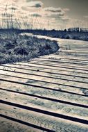 empty lonely wooden walkway