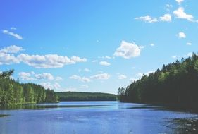 Quiet blue lake amidst a picturesque landscape, finland