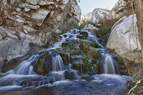 waterfall rocks landscape