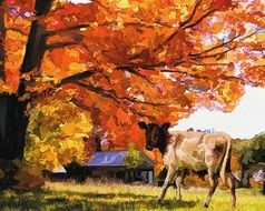 painted cow on farm in autumn