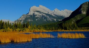 vermilion lakes with mountains sunny landscape