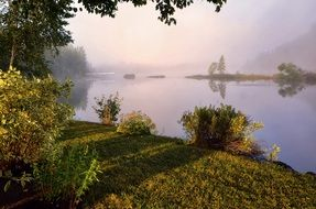 landscape of river bank in the morning