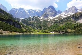alpine lake mountains