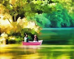 digital painting - two people in a pink boat on the lake