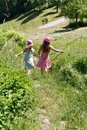 happy children running in the meadow