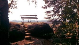Bench on a hill in Saxon Switzerland