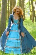 woman in blue princess dress