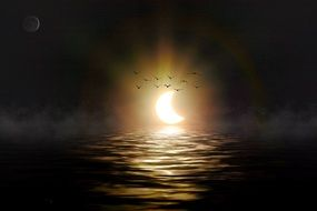 solar eclipse by the sea