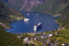 top view of the fjords in Norway