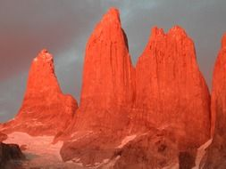 red granite mountains, chile, torres del paine