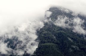 aerial view of a mountain ridge in the fog