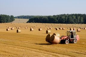 straw bales and tractor