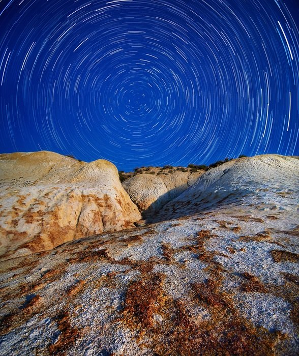 startrails in mountains at night