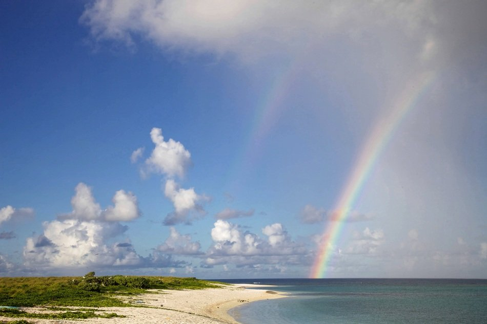 rainbow on a beach