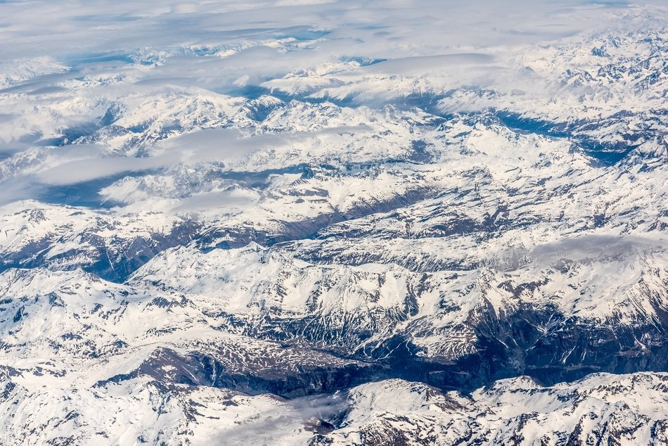 snow mountain range airview
