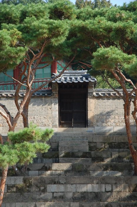 palace with garden in south korea