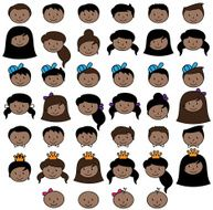 Set of Cute and Diverse Stick People Heads