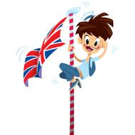 Cartoon excited happy smiling boy climbing on English flag pole