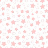 Vector seamless pattern of pink pentagonal stars