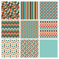 Seamless retro geometric hipster background set
