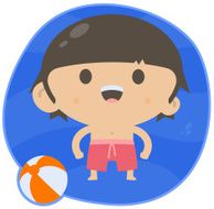 Swimming Boy with Beach Ball