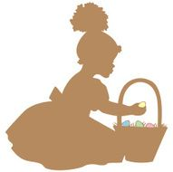 African American Girl with Easter Basket silhouette