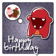 Happy birthday card with cute colorful monster vector