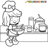 Little girl cooking coloring book page