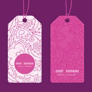 Vector pink flowers lineart vertical round frame pattern tags set