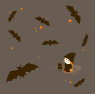 Little Girl Series Bats flying during Halloween