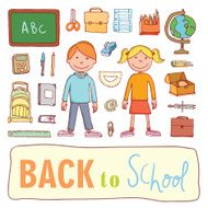 Back to school icons vector illustration N4