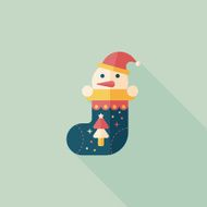Christmas stocking flat icon with long shadow eps10
