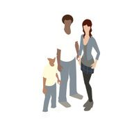 Interracial family illustration