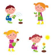 Gardening collection children watering and planting plants isolated on white
